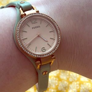 Mint green Fossil watch with bling